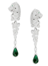 CZ by KENNETH JAY LANE silver cubic zirconia panther pave green drop ear... - $193.05