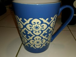 Gibson Home Blue W/ White Design Coffee Cup New - $8.41
