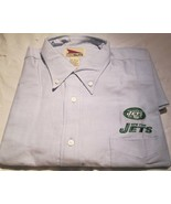 New York Jets Shirt Long Sleeve Button down Large NFL Embroidery Logo - $14.72