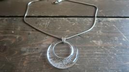 """Vintage Brighton Acrylic """"O"""" Silver Necklace 18"""" - 20"""" - $16.63"""
