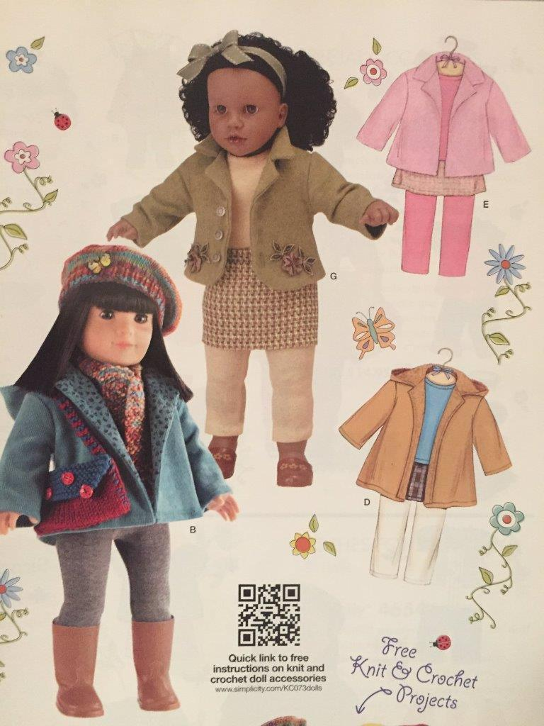 "Primary image for Simplicity Sewing Pattern 3551 18"" Doll Clothes Coat Jackets Shirt Leggings New"