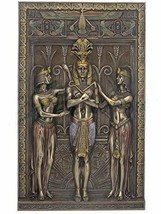 "16"" Egyptian Pharaoh w/ Maiden Wall Plaque Egypt Decor Statue Figure Scu... - $77.63"