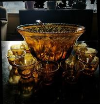 Iridescent AMBER Gold Carnival Glass Punch Bowl Set PRINCESS 7 Qt w Ladl... - $49.00