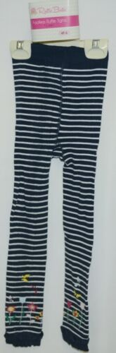 RuffleButts RLKNV4TWSFL Navy Stripe Floral Footless Tights Size 4T to 6
