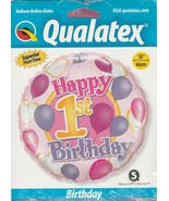 "1st Birthday Balloon & Hearts Mylar Foil Balloon by Qualatex 18"" - $6.82"