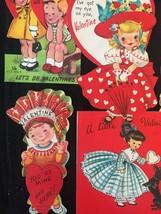 Set of 7 Vintage 50s illustrated Valentine Card Art (Set B) image 2