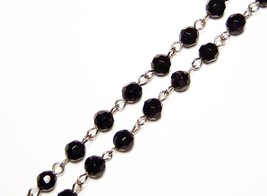 5 ft Black Rosary Chain Faceted Glass Beads Silver Linked Rosary 6mm 5 Feet - $17.99