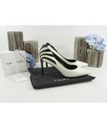 Celine Black White Leather Fan Applique Triangle Heels Size 37 7 NIB - $360.86