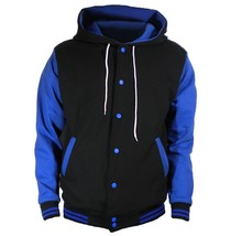 Black Varsity full  Wool Letterman Hoodie Royal blue wool  Sleeves XS-4XL - $55.00