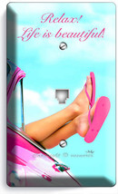 Pink Car Sexy Legs Feet Flip Flops Beach Phone Telephone Cover Plate House Decor - $11.69