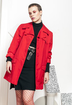 Red jacket - 70s vintage trench coat - $46.76