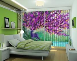 3D Purple Squid Deer 11 Blockout Photo Curtain Print Curtains Drapes US Lemon - $177.64+