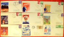9 USA WWII WAR Patriotic Covers Envelope American Stamps Postage 1943-44... - $46.80
