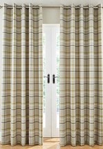 WOVEN CHECK GREEN GREY BEIGE LINED RING TOP CURTAINS *8 SIZES* - $42.10+