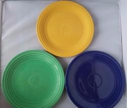 "Fiestaware Genuine Vintage Fiesta Colored Med 9.5"" Dinner Plates Set of 3 Home - $30.72"