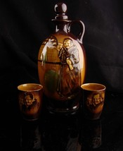 1940s Vintage Monk pitcher set - religious sake set - Japan Pottery deca... - $65.00