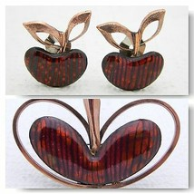 VTG MATISSE RENOIR Signed RARE Red Enamel APPLE Pin Brooch Earrings Set - $247.50