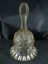 "Vintage Art Glass BELL Clapper Shape like a Dress Crystal design 6"" tall - $20.00"