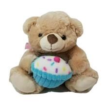 Kellytoy Brown Plush Teddy Bear Holding Cupcake Stuffed Animal - $11.56
