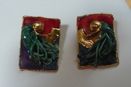 Lacombe Signed Multicolor Gold-tone Unique Post Earrings 1988 - $22.50