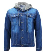 Men's Classic Button Up Removable Hood Slim Fit Stretch Denim Jean Jacket image 10
