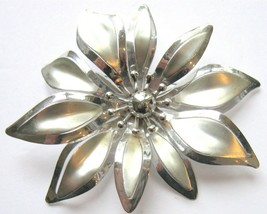 Vintage Silvery Large Flower Pin - $10.45