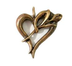 Vintage Open Heart & Flower Pendant (Unmarked) Tested Sterling Silver - $24.99