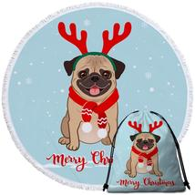 Christmas Pug Beach Towel - $12.32+