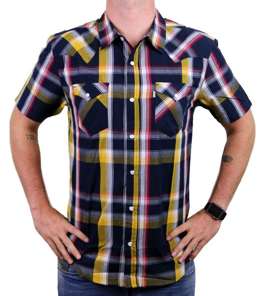 NEW LEVI'S MEN'S CLASSIC COTTON CASUAL BUTTON UP PLAID NAVY GLD-3LYSW6102