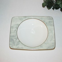 Mikasa Batique Rim Soup Bowl Vintage Bone China Japan Marbled Green Leaves - $22.95