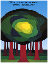 "18x24""Decoration Poster.Interior room design art.Protect the trees.Spani... - $21.00"