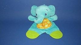 Bright Starts Mini security blanket Elephant Teether Crinkle Tummy teal aqua - $4.99