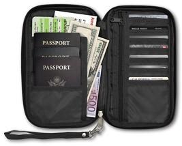 RFID Travel Passport & Document Organizer Zipper Case, Black - €11,62 EUR