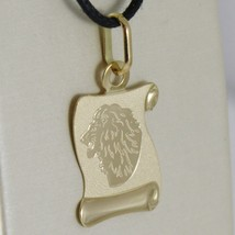 18K YELLOW GOLD ZODIAC SIGN MEDAL, LEO, LION PARCHMENT ENGRAVABLE MADE IN ITALY image 2