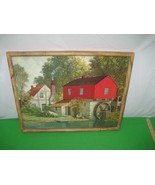 Vintage Picture of a Red Watermill Print Signed by E. Thomas Framed Glas... - $18.65