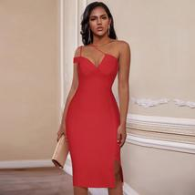 New Summer One Shoulder Sexy Red Sleeveless Bandage Bodycon Party Dress image 4