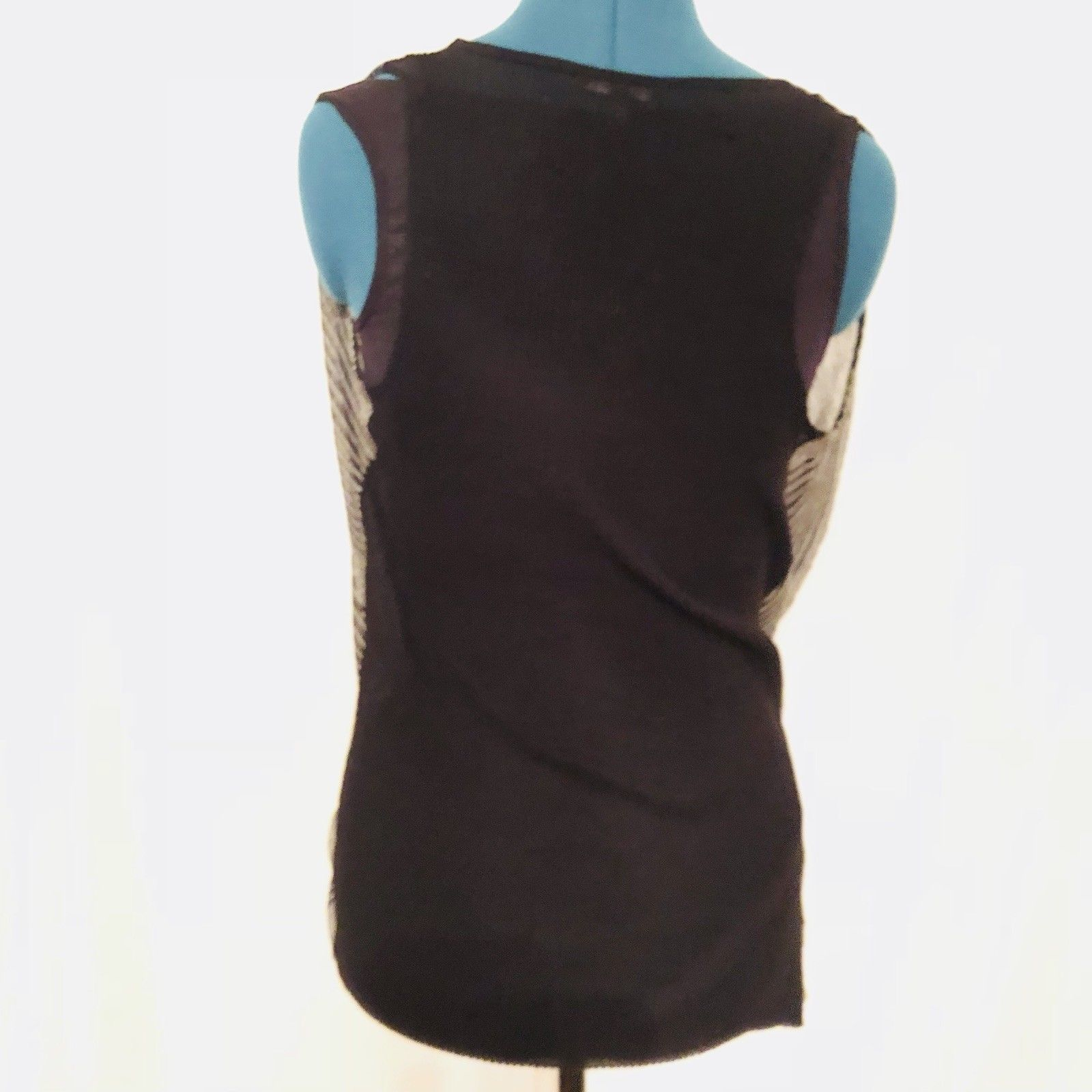 Eileen Fisher Sweater Vest Extra Small Black White Criss Cross