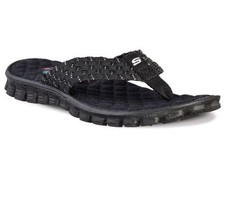 SKECHERS Memory Foam Gel Blk/Silver Stretch Wea... - $26.13