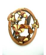 Hummingbird Trumpet Flower Bee Intarsia Wood Wall Art Home Decor Plaque New - $59.35