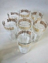 7 Tall Drinking Glasses, Roman Goddesses, Gold/White/Clear, Unused! - $36.63