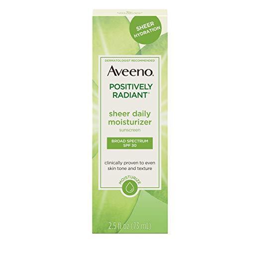 Aveeno Positively Radiant Sheer Daily Moisturizing, Spf 30, 2.5 oz.