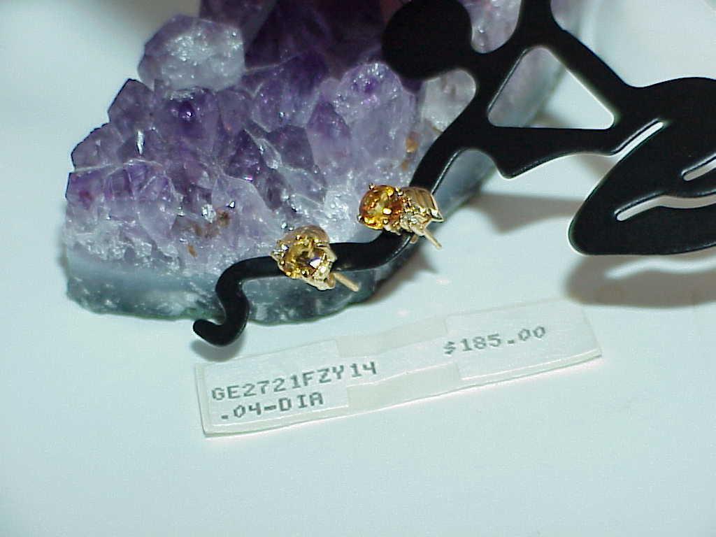 14K Citrine Golden Diamond Stud Earrings Yellow Gold Nice! New W/Tag!