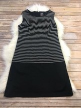 Vince Camuto Black and White Striped Sleeveless Shift Dress Size 6 - $29.69