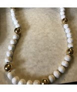 Vintage Anne Klein White and Gold Tone Necklace - $25.00