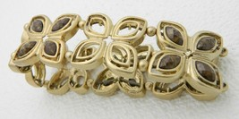 VTG Gold Tone Brown Plastic Rhinestone Flower Panel Stretch Bracelet - $19.80