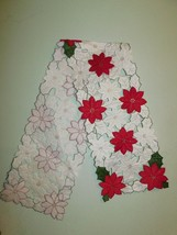 "Christmas Table Runner Poinsettia Sam Hedaya 14"" x 12"" - $12.38"