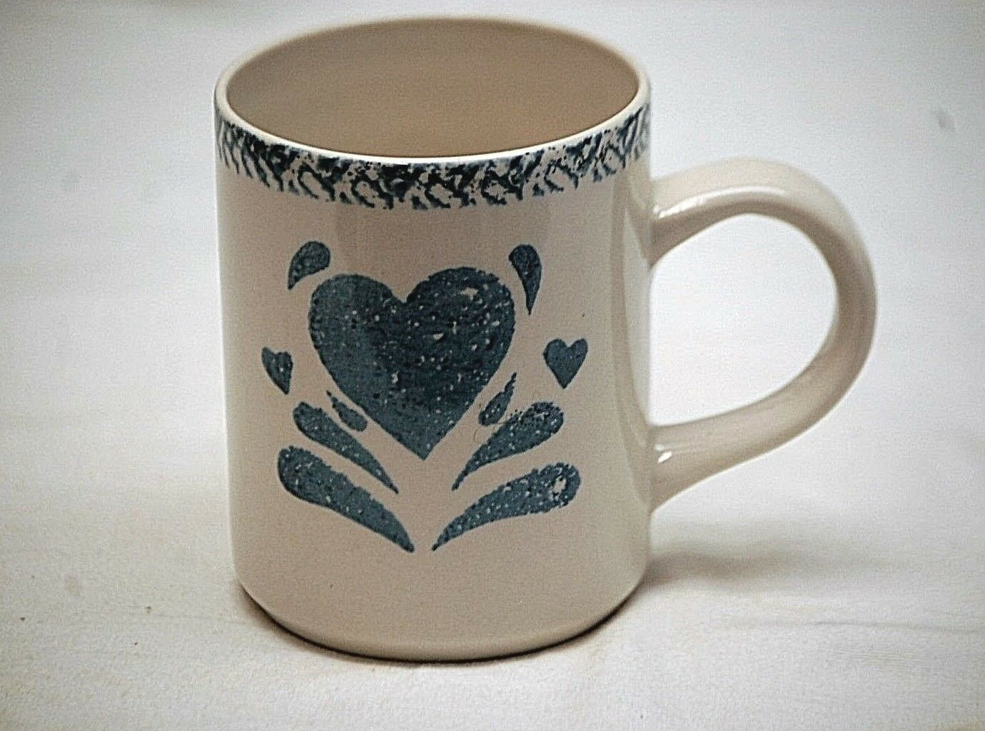 "My Heart Gibson Designs 4"" Coffee Cup Chocolate Mug Sponged Blue Heart Stoneware - $8.90"