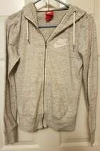 Nike Women's S Heathered Light Gray Zip-up Hoodie Long Sleeve Hooded Swe... - $17.45