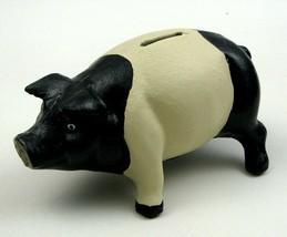 Cast Iron Rustic Black & White Pig Bank ~ Vintage Style - $22.50