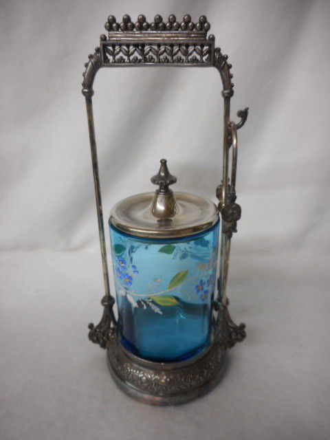 Antique Blue Glass Handpainted Victorian Pickle Castor with Tongs